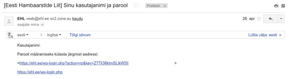 parool e-mailis